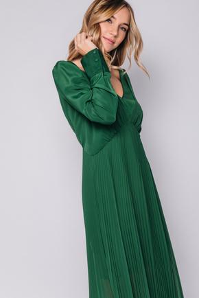 Длинное зеленое платье с плиссировкой в прокат и аренду в Киеве. Фото 2