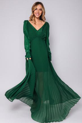 Длинное зеленое платье с плиссировкой в прокат и аренду в Киеве. Фото 1