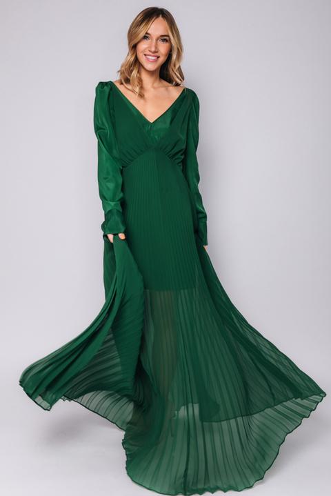 Длинное зеленое платье с плиссировкой
