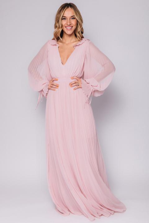 Розовое плиссированное платье в пол с длинным рукавом