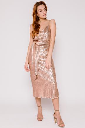Плаття-комбінація золотого кольору з паєток в прокат и oренду в Киiвi. Фото 2