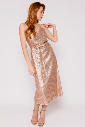 Плаття-комбінація золотого кольору з паєток в прокат и oренду в Киiвi. Фото 1