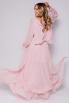 Розовое плиссированное платье в пол с длинным рукавом в прокат и аренду в Киеве. Фото 5