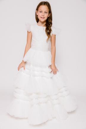 Дитяче біле плаття з пишною багатошаровою спідницею і топом з гліттера в прокат и oренду в Киiвi. Фото 1