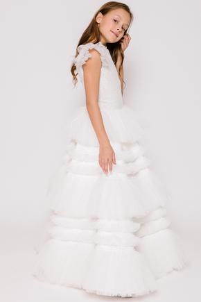 Дитяче біле плаття з пишною багатошаровою спідницею і топом з гліттера в прокат и oренду в Киiвi. Фото 2