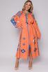 Оранжевая вышиванка длины миди с синей вышивкой в прокат и аренду в Киеве, Одессе, Харькове. Фото 1