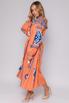 Оранжевая вышиванка длины миди с синей вышивкой в прокат и аренду в Киеве, Одессе, Харькове. Фото 3