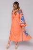 Оранжевая вышиванка длины миди с синей вышивкой в прокат и аренду в Киеве, Одессе, Харькове. Фото 4