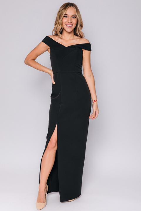 Черное платье макси с разрезом по ноге