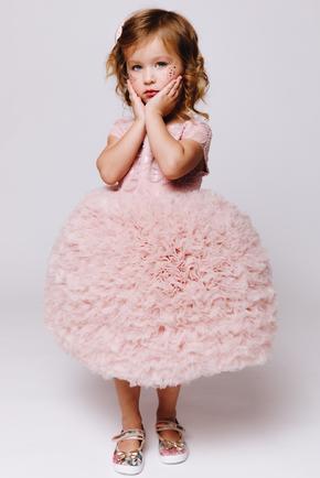 Дитяче пудровим плаття з фатину з пишною спідницею в прокат и oренду в Киiвi. Фото 2