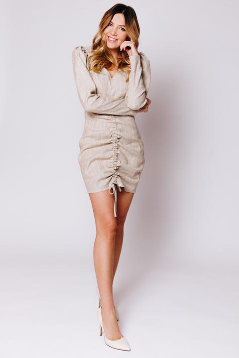 Платье мини с длинным рукавом и драпировкой оливкового цвета