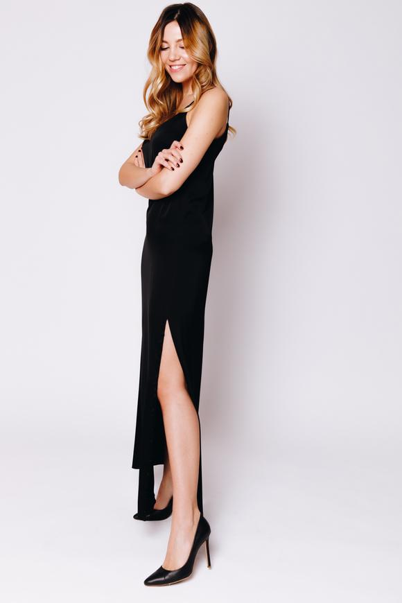 Черное шелковое платье-комбинация с высоким разрезом в прокат и аренду в Киеве. Фото 2