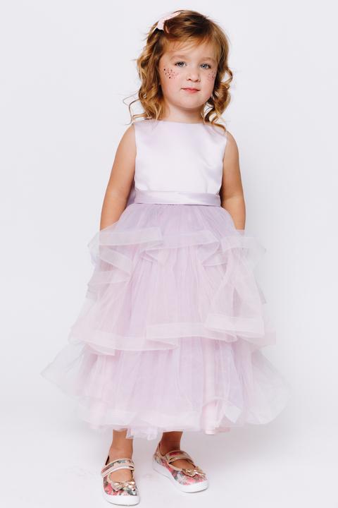Детское лавандовое платье с бантом