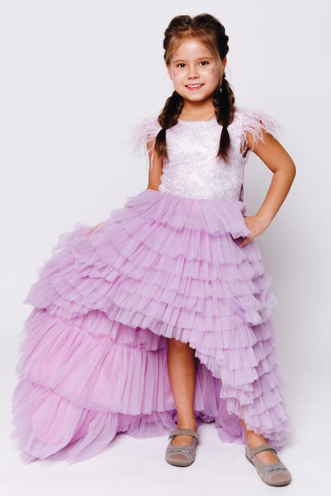 Детское многослойное платье лавандового цвета