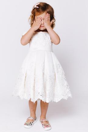 Дитяча біла атласна сукня з бісером та мереживом в прокат и oренду в Киiвi. Фото 1