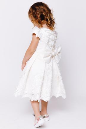 Дитяча біла атласна сукня з бісером та мереживом в прокат и oренду в Киiвi. Фото 2