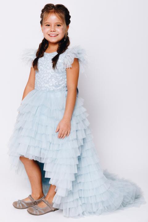 Детское голубое многослойное платье с кружевом
