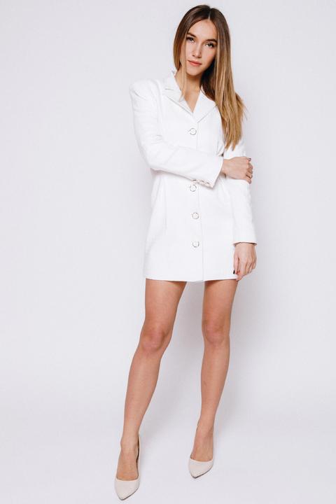 Молочное платье-жакет с защипами