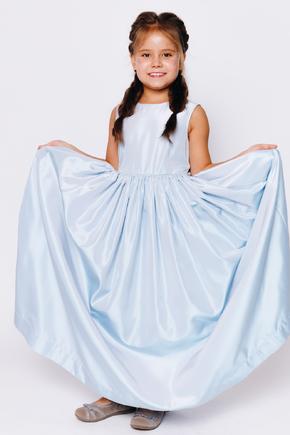 Дитяче блакитне плаття в підлогу з поясом в прокат и oренду в Киiвi. Фото 1