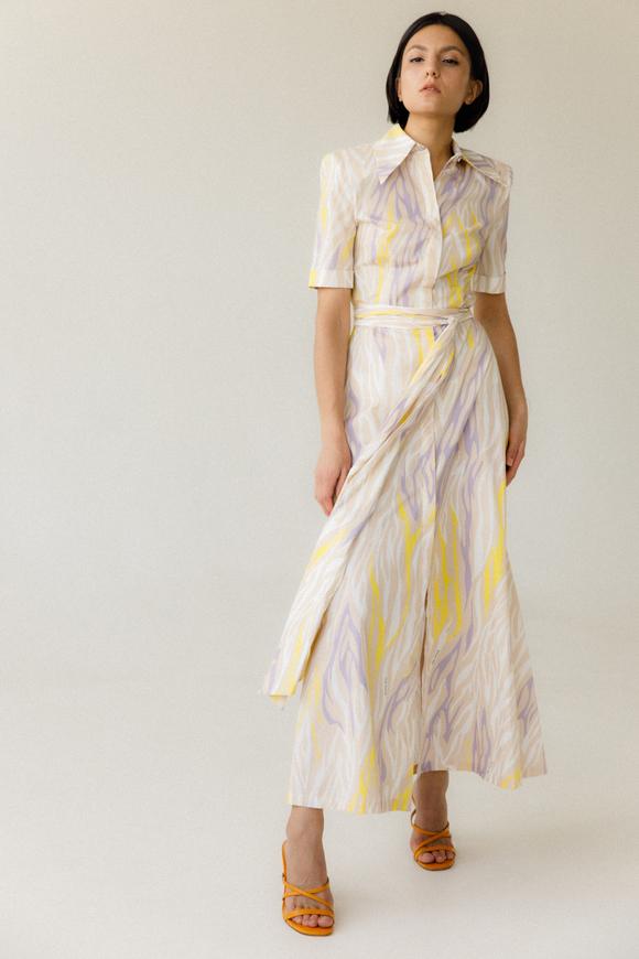 Платье-рубашка длины миди с разноцветным принтом в прокат и аренду в Киеве. Фото 2