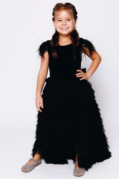 Детское черное многослойное платье