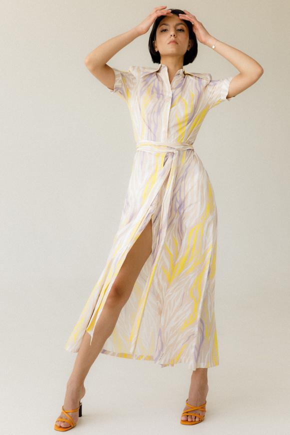 Платье-рубашка длины миди с разноцветным принтом в прокат и аренду в Киеве. Фото 1