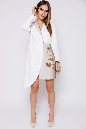 Плаття-смокінг з відрізною талією, рукавом і паєтками молочного кольору в прокат и oренду в Киiвi. Фото 1