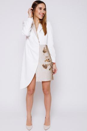 Плаття-смокінг з відрізною талією, рукавом і паєтками молочного кольору в прокат и oренду в Киiвi. Фото 2