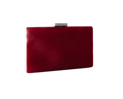 Красный бархатный клатч с застежкой из камней
