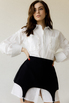 Платье-рубашка белого цвета со съемной черной баской в прокат и аренду в Киеве. Фото 3