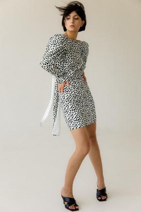 Чорно-біле прінтовой плаття міні з відкритою спиною в прокат и oренду в Киiвi. Фото 2