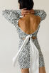 Черно-белое принтовое платье мини с открытой спиной в прокат и аренду в Киеве. Фото 5