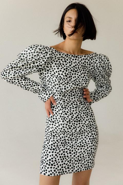 Черно-белое принтовое платье мини с открытой спиной