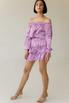 Шелковое платье-мини с опущеными плечами и длинным рукавом лилового цвета в прокат и аренду в Киеве, Одессе, Харькове. Фото 2