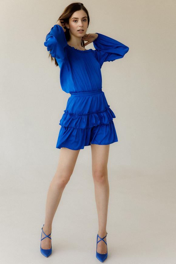 Шелковое платье мини со спущенными плечами и длинным рукавом синего цвета в прокат и аренду в Киеве, Одессе, Харькове. Фото 1