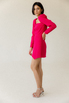 Платье-мини малинового цвета с обьемными плечами и ассиметрией в прокат и аренду в Киеве. Фото 4