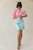 Розовое платье миди с рукавом фонариком и цветами в прокат и аренду в Киеве. Фото 1