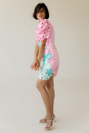 Рожеве плаття міді з рукавом ліхтариком і квітами в прокат и oренду в Киiвi. Фото 2