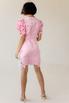 Розовое платье миди с рукавом фонариком и цветами в прокат и аренду в Киеве. Фото 3