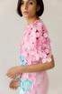 Розовое платье миди с рукавом фонариком и цветами в прокат и аренду в Киеве. Фото 4