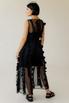 Двухслойное полупрозрачное черное платье с объемными аппликациями в прокат и аренду в Киеве. Фото 4
