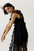 Двухслойное полупрозрачное черное платье с объемными аппликациями в прокат и аренду в Киеве. Фото 5