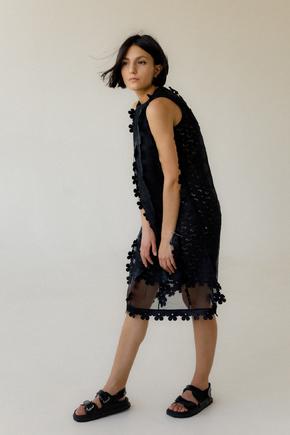 Двошарове напівпрозоре плаття з квітковими аплікаціями в прокат и oренду в Киiвi. Фото 2