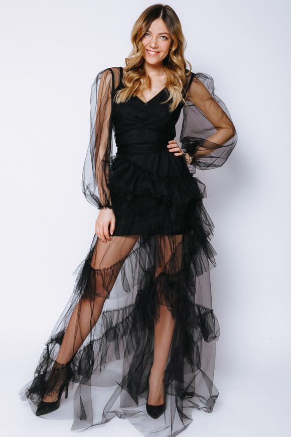 Комбинированное длинное черное платье из фатина в прокат и аренду в Киеве, Одессе, Харькове. Фото 1