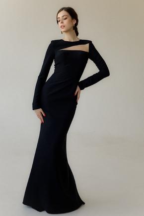 Довге вечірнє плаття зі шлейфом і рукавом чорного кольору в прокат и oренду в Киiвi. Фото 2