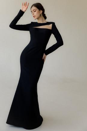 Довге вечірнє плаття зі шлейфом і рукавом чорного кольору в прокат и oренду в Киiвi. Фото 1