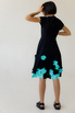 Черное платье миди с коротким рукавом и мятными цветами в прокат и аренду в Киеве, Одессе, Харькове. Фото 4
