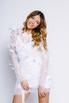 Белое платье мини из сетки с перьями и камнями в прокат и аренду в Киеве. Фото 4