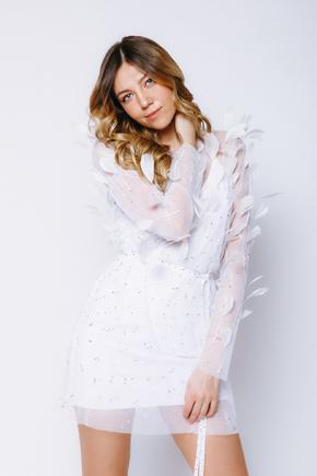 Сукня міні з сітки з пір'ям і камінням білого кольору в прокат и oренду в Киiвi. Фото 2