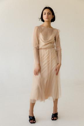 Легке комбіноване плаття з накидкою з мерехтливого тюлю золотого кольору в прокат и oренду в Киiвi. Фото 2